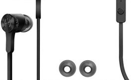 MuveAcoustics Spark Wired in-Ear Headphones – Sports Noise Cancelling Stereo Earbuds with Mic, Black