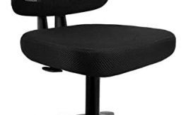 Armless Office Chair mysuntown Ergonomic Task Office Chair No Arms Small Computer Desk Chairs with Wheels Black Mesh Comfortable Adjustable Chair