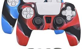 Aosai Silicone Gel DualSense Controller Cover Skin Protector Compatible for Sony Playstation 5 DualSense Controller (2X Controller Camouflage Cover with 8 x FPS Pro Thumb Grip Caps)(Red,Blue)