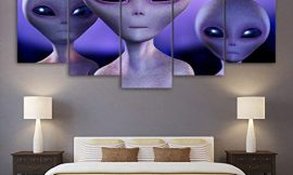 ZMKDLL Unframed Artwork Alien Spaceship UFO Canvas Print Painting Wall Art Home Decor Picture Poster 5P