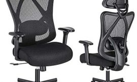 SUNNOW Ergonomic Office Chair, High Back Computer Chair with Adjustable Lumbar Support, Armrest, Thick Foam Cushion, Mesh Headrest and Tilt Back, Swivel Executive Task Chair for Work, Gaming, Home
