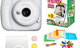 Fujifilm Instax Mini 11 Instant Camera + Instax Mini Twin Pack Film + Hanging Frames + Plastic Frames + Case + Close Up Filters – All Inclusive Bundle! (Ice White)