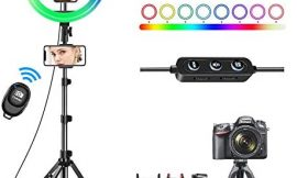 10″ Selfie Ring Light with Tripod Stand 62″ & 3 Phone Holders, 42 Color Modes & Stepless Dimmable LED Ring Light for YouTube Video,TikTok,Photography,Makeup,RGB Ring Light for iPhone & Android Phone