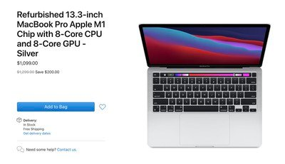 Apple Begins Selling Refurbished 13-Inch MacBook Pro With M1 Chip
