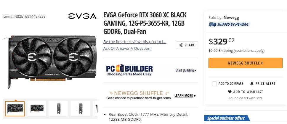 A $329 Nvidia RTX 3060 was impossible to find, but you could give Newegg's raffle a try