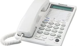 Panasonic 2-Line Integrated Corded Telephone System with 16-Digit LCD, Speakerphone, Clock, Hearing Aid Compatibility and 3-Way Conferencing – KX-TS208W (White)