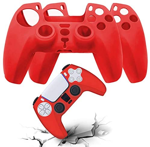 AVITER PS5 Silicone Controller Skins – Dustproof Anti-Slip Cover for Sony PS5 Playstation 5 Controller, Durable Protector Case for Playstation 5 DualSense Wireless Controller 2 Pieces (Red)