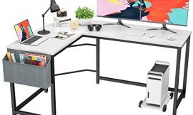 Foxemart L Shaped Desk Corner Desk 58″ Computer Gaming Desk PC Table Writing Workstation for Home Office, Large L Study Desk 2 Person Multi-Usage Tables Modern Simple Desk with Storage Bag & CPU Stand