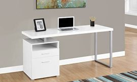 Monarch Specialties Computer Writing Desk for Home & Office Laptop Table with Drawers Open Shelf and File Cabinet-Left or Right Set Up, 60″ L, White