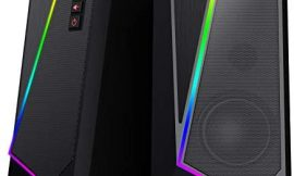 Redragon GS520 Anvil RGB Desktop Speakers, 2.0 Channel PC Computer Stereo Speaker with 6 Colorful LED Modes, Enhanced Bass and Easy-Access Volume Control, USB Powered w/ 3.5mm Cable