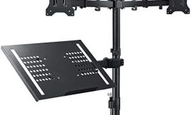 Dual Monitor with Laptop Stand Mount – Height Adjustable Dual Monitor arm Mount Desk Stand with Laptop Tray Fit Two 13 to 30 Inch Flat Curved Computer Screens and 10 to 19 Inch Notebooks