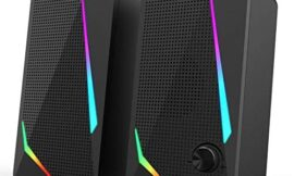 Redragon GS510 Waltz RGB Desktop Speakers, 2.0 Channel PC Computer Stereo Speaker with 4 Colorful LED Backlight Modes, Enhanced Bass and Easy-Access Volume Control, USB Powered w/ 3.5mm Cable