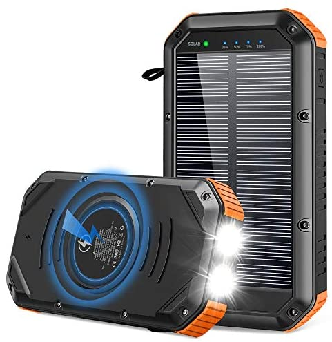 Solar Charger 30000mAh, Solar Power Bank 18W Qi Wireless Portable Charger Type-c Input & 5 Output Battery Charger with 4 Lighting Modes Flashlight IP65 Waterproof Phone Charger for Camping Outdoor
