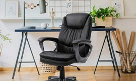 Halter Executive Leather Home Office Desk Chair with Wheels, Ergonomic Computer Swivel Chair