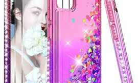 LeYi Compatible with Samsung Galaxy A51 5G Case (Not Fit A51) with 2 Tempered Glass Screen Protector for Girls Women, Glitter Sparkle Clear Phone Case for Samsung A51 5G, Gradient Pink/Purple