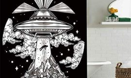 Abaysto Black Night Alien Spaceship UFO Home Decor Shower Curtain Sets with Hooks Polyester Fabric Great Gift