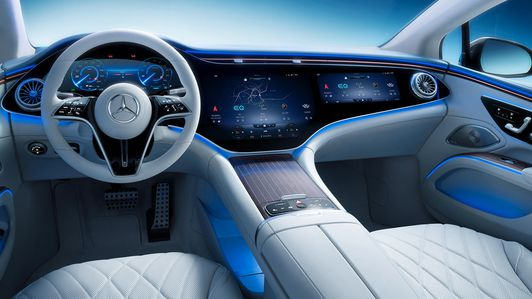 Electric Mercedes-Benz EQS sedan reveals cockpit dominated by massive Hyperscreen