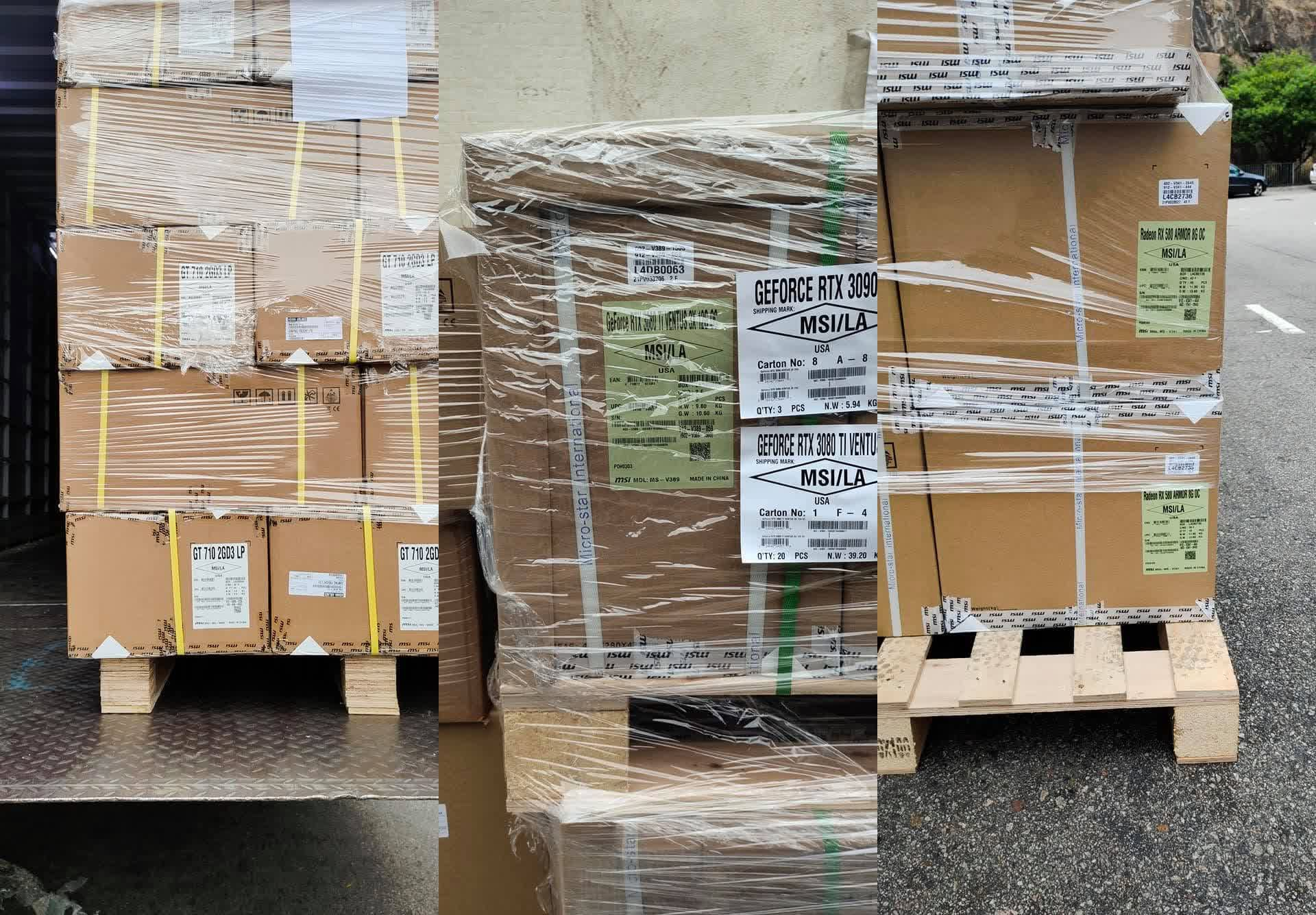 Boxes of RTX 3080 Ti 12GB GPUs have been photographed on their way to LA