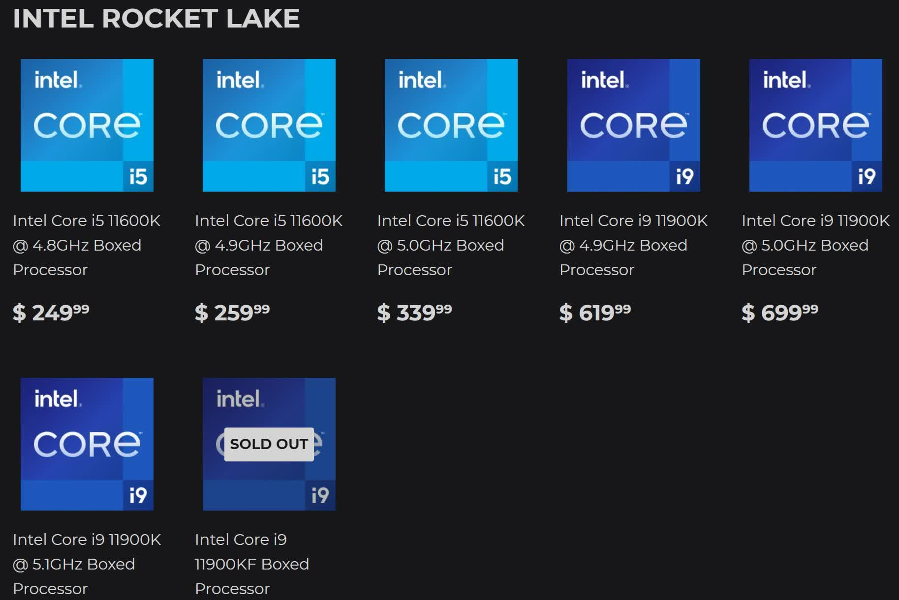 Intel's Rocket Lake prices fall, pre-binned chips available; Comet Lake gets even cheaper