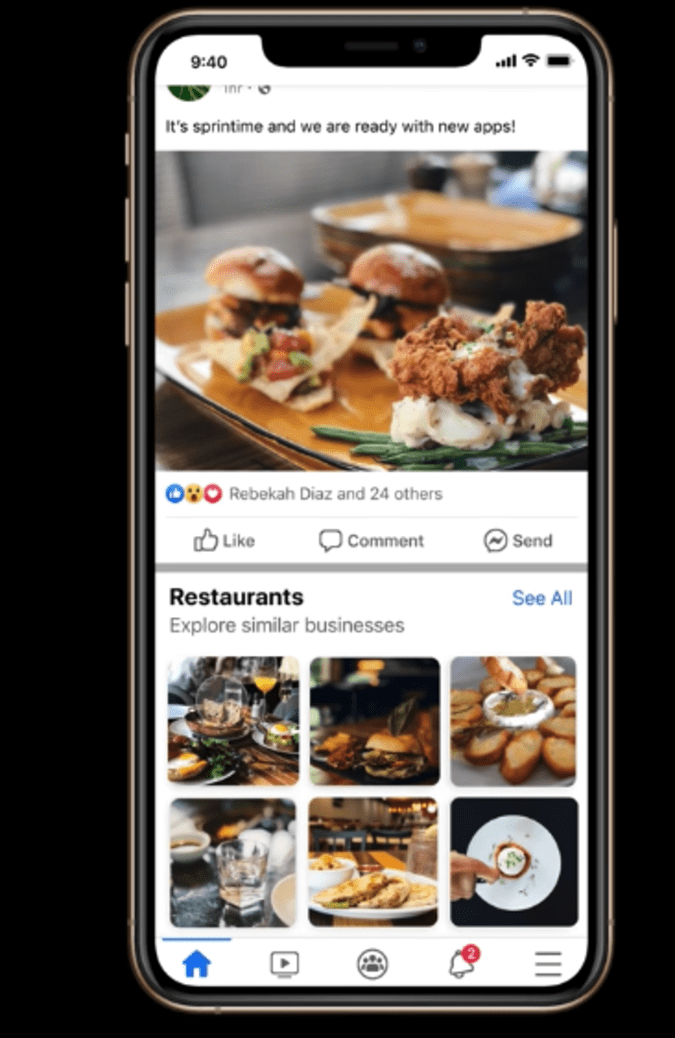 Facebook tests a new feature to recommend businesses in News Feed