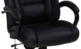Big & Tall Heavy Duty Executive Chair 500 Lbs Heavyweight Rated Black PU Leather Task Rolling Swivel Ergonomic Executive Office Chair with Massage Lumbar Support Armrest