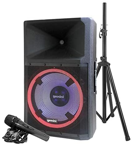 Gemini GSP-L2200PK Indoor Outdoor Ultra Powerful Bluetooth 2200 Peak Watt Speaker with Party Lights and Built in Media Player, FM Radio | Support USB, SD Card