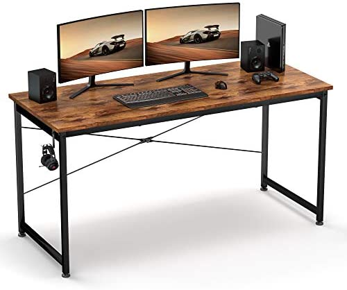 Computer Desk 55″, Sturdy Computer Table, Writing Desk for Home Office, Gaming Desk with Headphone Hook, Computer Work Station, Work Table, Relic
