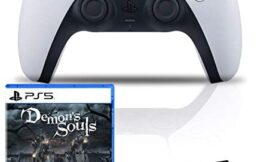 PlayStation 5 DualSense Wireless Controller Bundle with Demons Souls PS5 Game and 6Ave Cleaning Cloth