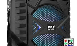 """Portable Bluetooth PA Speaker System – 300W Rechargeable Outdoor Bluetooth Speaker Portable PA System w/ 8"""" Subwoofer, AUX, Microphone in, Party Lights, MP3/USB, Radio, Remote – Pyle PPHP854B, Black"""