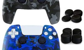 Aeroway 2 Packs Anti-Slip Shock-Proof Silicone Protective skin case cover for Sony PlayStation 5 PS5 Dualsense Controller with 8 Pro Joystick Thumb Grip Caps–Camouflage Black & Blue
