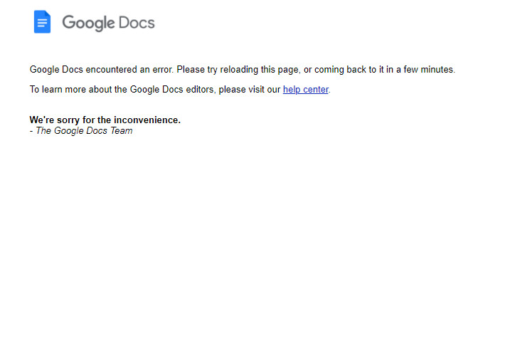 Google Docs and Sheets are experiencing partial outages