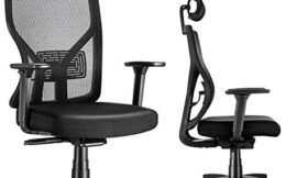 Ergonomic Office Chair,Mesh Desk Chair with Thick Seat Cushion,MOLENTS High Back Rolling Computer Chair with Adjustable Headrest,3D Armrest,Sliding Seat,Executive Swivel Chairs for Home Office