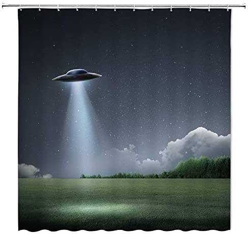BCNEW UFO Shower Curtain Decor Flying Saucer Spaceship Woodland Green Tree Meadow Night Scenery Fantasy Starry Sky Bathroom Curtain Polyester Fabric Machine Washable with Hooks 70 x 70 Inches