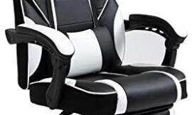 AJS PC Gaming Chair Computer Ergonomic Video Game Chair Adjustable Swivel Recliner High Back PU Leather Desk Chair Lumbar Support with Footrest for Adults and Teens (White)