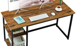"""GreenForest Home Office Desk with 2-Tier Storage Shelves 47"""" Computer Writing Desk Morden PC Laptop Workstation Study Working Table, Walnut"""
