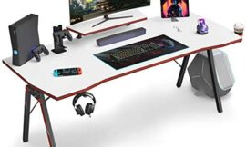 DESINO Gaming Desk 55 inch PC Computer Desk, Home Office Desk Table Gamer Workstation with Cup Holder and Headphone Hook, White