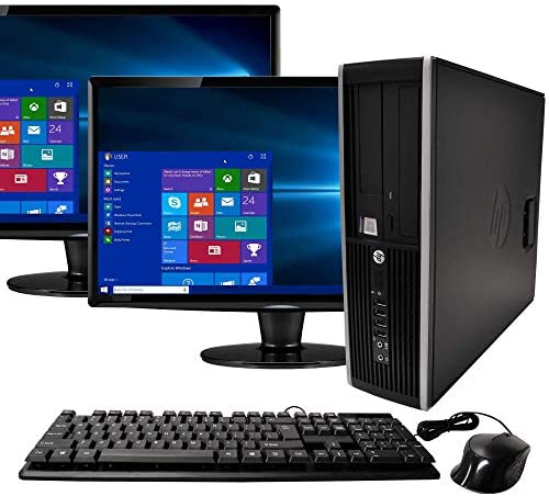 HP Elite Desktop Computer Tower PC Intel Ci5-2400, 16GB Ram, 2TB HDD, Wireless WiFi, Bluetooth Adapter, DVD-ROM, Keyboard Mouse 24 inches Dual LCD Monitor Brands Vary, Windows 10 (Renewed)
