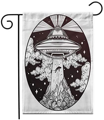 Adowyee 12″x 18″ Garden Flag Alien Spaceship UFO Flying Saucer Abducting Human Conspiracy Theory Outdoor Double Sided Decorative House Yard Flags
