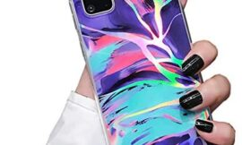 Galaxy A51 5G Case Protective Cover Marble Phone Case for Women Girls Sparkle Glitter Slim Fit Shockproof Soft Silicone Rubber TPU Bumper Case for Samsung Galaxy A51 5G Case-Purple