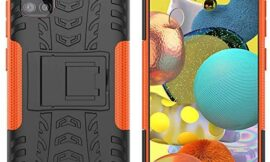 MOONCASE Case for Samsung Galaxy A51 5G, Dual Layer 2 in 1 Hybrid Rugged Armor Defender Cover with Bracket Function Impact Resistance Protective Case for Samsung Galaxy A51 5G (Orange)