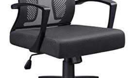 Office Chair Home Office Desk Chair Mid Back Mesh Desk Chair Ergonomic Lumbar Support Computer Chair Swivel Rolling Task Chair with Armrest (Black)