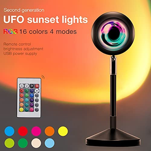 Sunset Lamp Projector, Colorful LED 6W COB Lamp Beads 16 Static Colors Sunset Red/Rainbow/Sunset/Sun Gradient Night Light Romantic Visual Ambient Lamp for for Home Party Living Room Bedroom Decor
