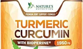 Turmeric Curcumin with BioPerine 95% Curcuminoids 1950mg with Black Pepper for Best Absorption, Made in USA, Most Powerful Joint Support, Turmeric Supplement by Natures Nutrition – 180 Capsules