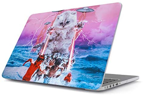 Glitbit Hard Case Cover Compatible with MacBook Air 13 inch Case Release 2018-2019, Model: A1932 / A2179 with Retina Display and Touch ID Laser Cat Alien UFO Space Kitten Galaxy Cosmic Trippy Kitty