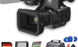 Panasonic AG-UX180 4K Professional Camcorder (AG-UX180PJ8) with Padded Case, LED Light, 64GB Memory Card and More Base Bundle