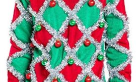 Men's Ornament and Garland Ugly Christmas Sweater – Green and Red Funny Tacky Tinsel Christmas Sweater
