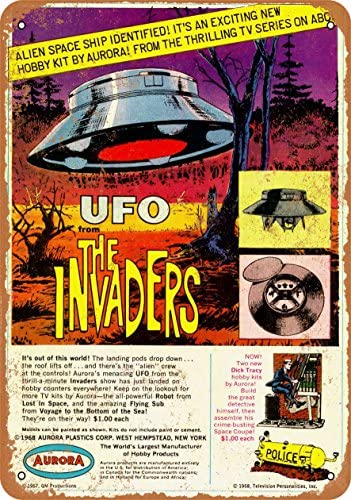 Wall-Color 9 x 12 Metal Sign – 1968 The Invaders UFO Model Kit – Vintage Look