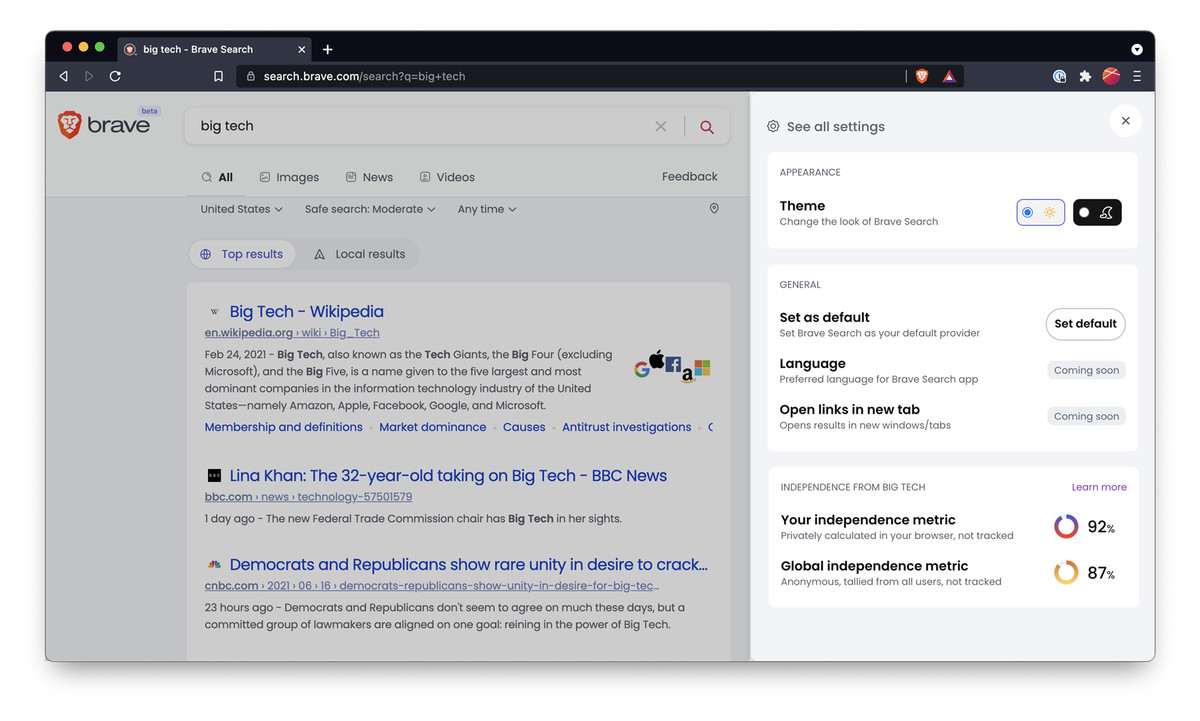 Brave's privacy-focused search engine is in public beta