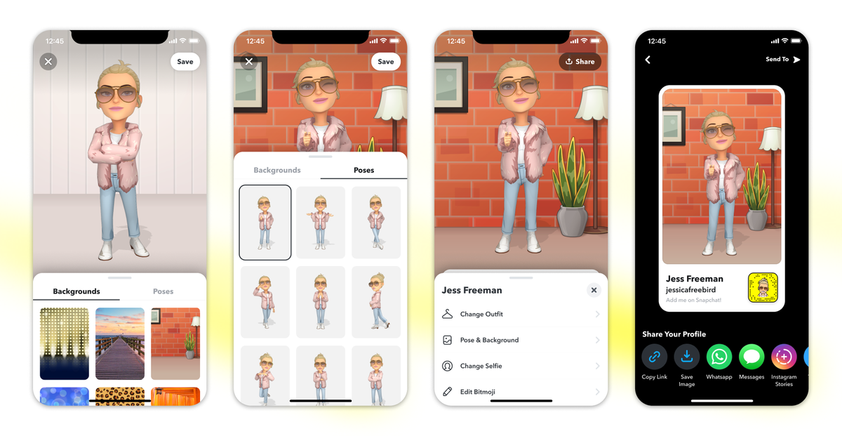 Read more about the article Snapchat will let you pose your Bitmoji on your profile in 3D