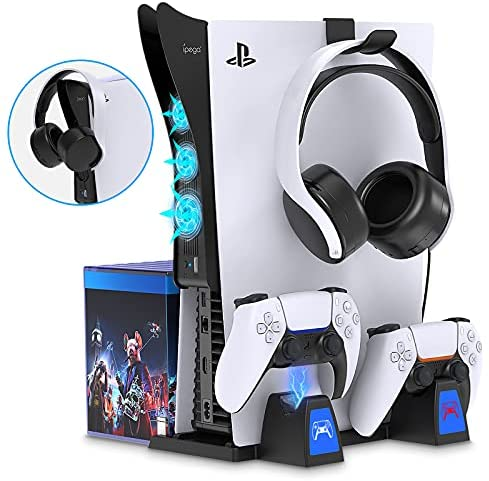 Read more about the article PS5 Stand and 2-in-1 Cooling Fan Accessories Kit for Playstation 5, YUANHOT Vertical Stand with Controller Charging Station Within 2-3H, Cooling System, Headset Holder, Extra USB Ports, 14 Game Slots